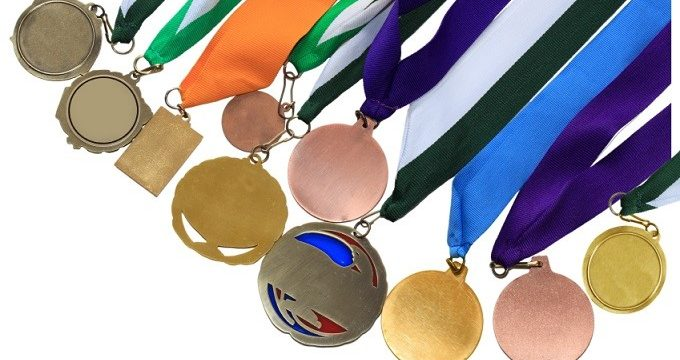 Collection of medals in different shape and colors